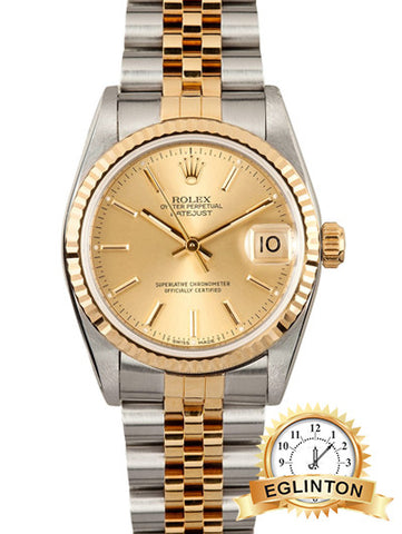 Rolex Midsize 31mm Datejust 68273 18K Yellow Gold & Stainless Steel
