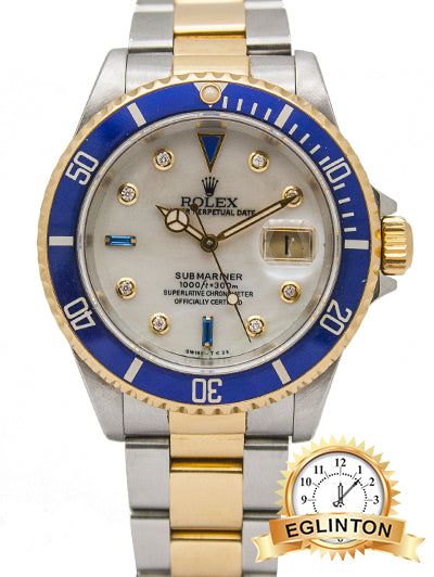 Rolex Submariner Date Two Tone YG/SS MOP Serti Dial - 16613