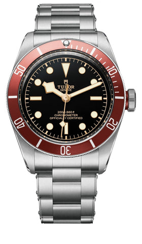 TUDOR Heritage Black Bay watch with burgundy bezel on steel bracelet New