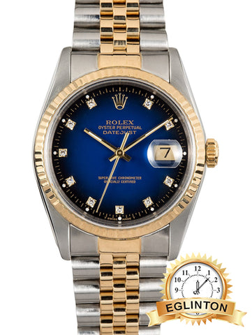 ROLEX DATEJUST 16233 DIAMOND BLUE VIGNETTE