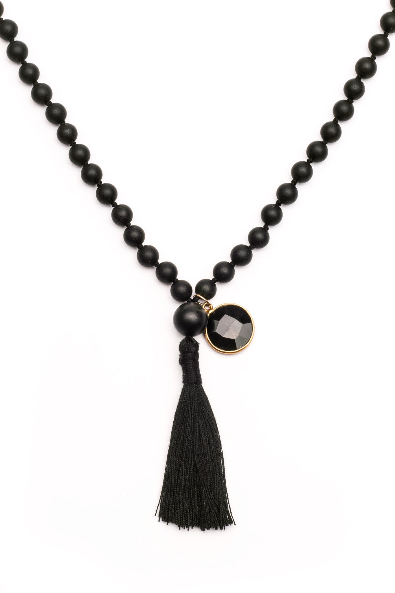 Black and Gold Onix Mala Necklace