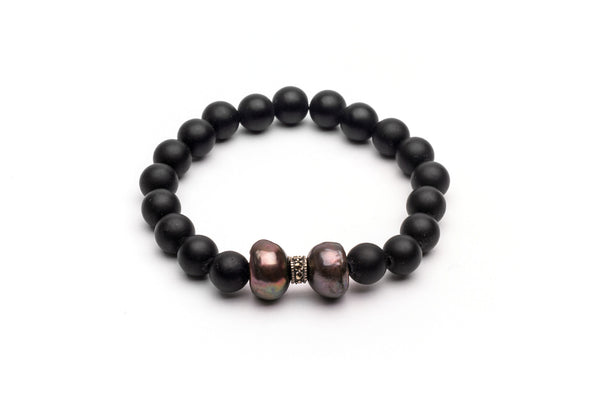 Black Onix and Black Pearl Bracelet