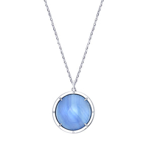 Agata Azzurra Talisman Pendant with White Sapphires and Blue Topaz