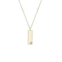 Load image into Gallery viewer, Birthstone Talisman Tag - April | Diamond 14Y Gold Tag Necklace with Chain