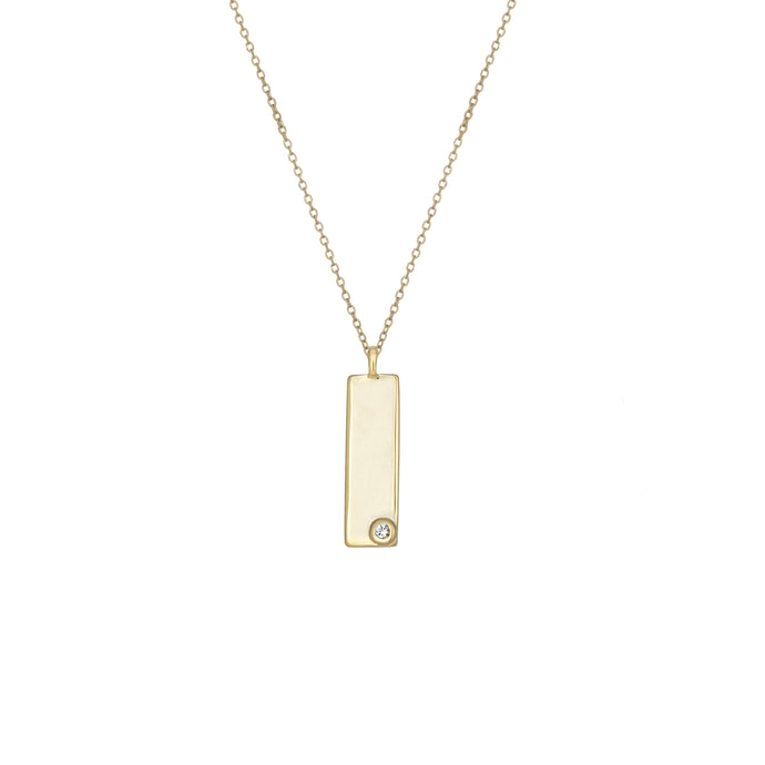 Birthstone Talisman Tag - April | Diamond 14Y Gold Tag Necklace with Chain