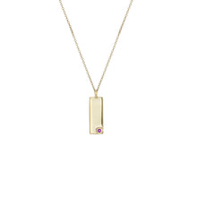 Load image into Gallery viewer, Birthstone Talisman Tag - February | Amethyst 14Y Gold Tag Necklace with Chain