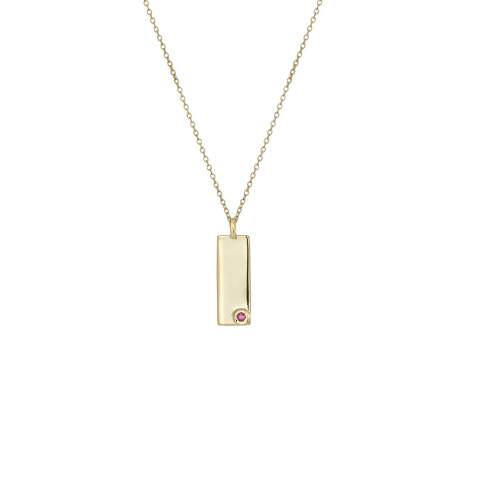 Birthstone Talisman Tag - January | Garnet 14Y Gold Ruby Tag Necklace with Chain