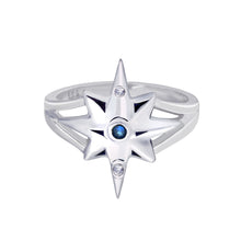 Load image into Gallery viewer, Star Ring with Blue and White Sapphires \  big