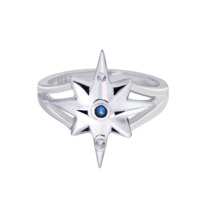 Sterling Silver Star Ring with Blue and White Sapphires | Big | Erica Corte Atelier