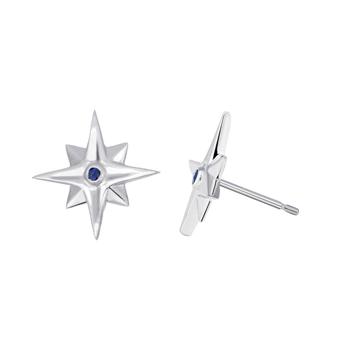 Star Earrings with Blue Sapphires - by Erica Corte Atelier