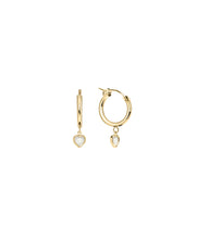 Load image into Gallery viewer, Heart Mother of Pearl Hoops