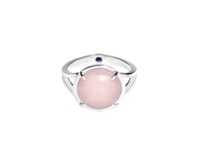 Rose Quartz Crystal & Amethyst Talisman Ring