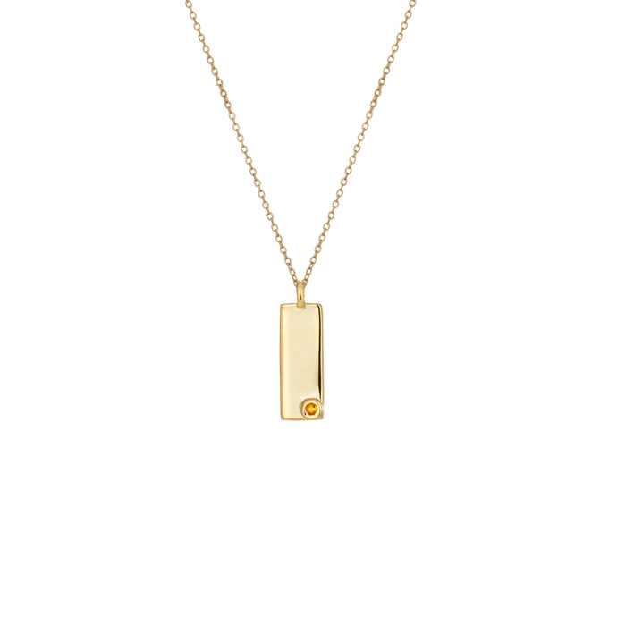Birthstone Talisman Tag - November| Citrine 14Y Gold Tag Necklace with Chain