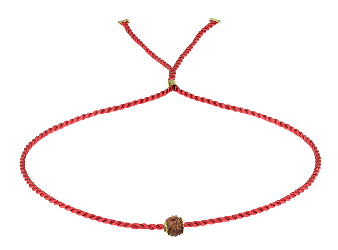 Erica Corte Atelier Red Wish Wristlet Bracelet- Symbol of unconditional Love and Friendship-Silk string with gold, Rudraksha Bead and silk