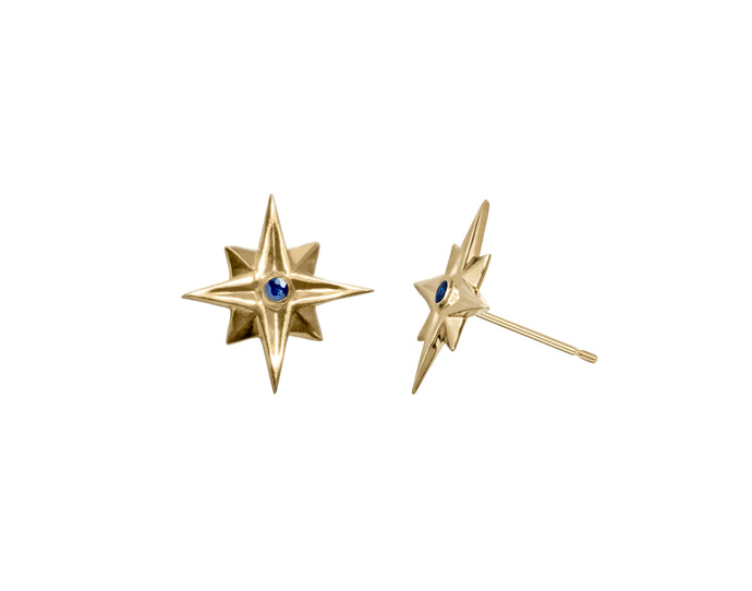 Star Gold Earrings with Blue Sapphires