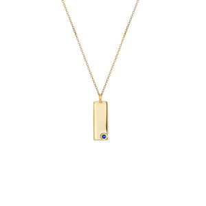 Birthstone Talisman Tag - September| Sapphire 14Y Gold Tag Necklace with Chain