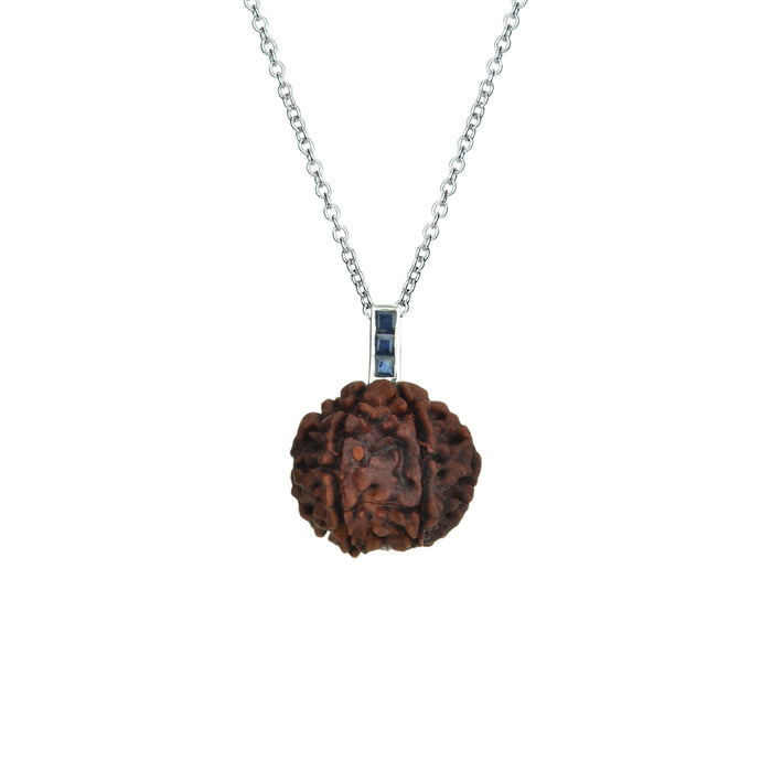 Rudraksha Seed Necklace | Sterling Silver with Gemstones
