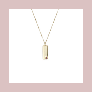 Birthstone Talisman Tag - July | Ruby 14Y Gold Tag Necklace with Chain