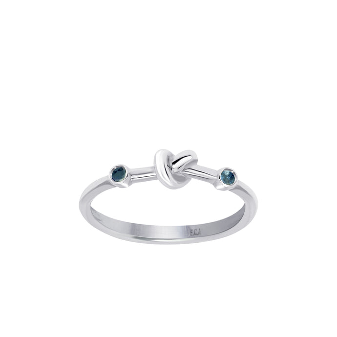 Love Knot Ring with Blue Sapphires
