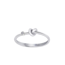 Load image into Gallery viewer, Love Knot Ring With White Diamond  This simple design is handcrafted with Sterling Silver and a diamond to convey the message of eternal love.  Sterling Silver  White Diamond: 1.5mm