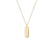 Load image into Gallery viewer, Birthstone Talisman Tag - March | Aquamarine  14Y Gold Tag Necklace with Chain