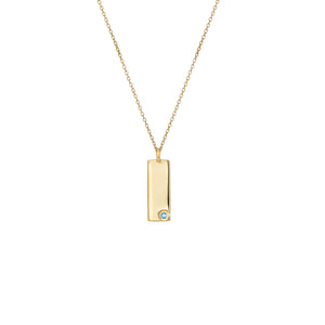 Birthstone Talisman Tag - March | Aquamarine  14Y Gold Tag Necklace with Chain