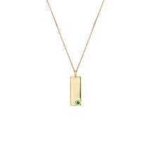 Load image into Gallery viewer, Erica Corte Atelier. Birthstone Talisman Tag - May| Emerald 14Y Gold Tag Necklace with Chain