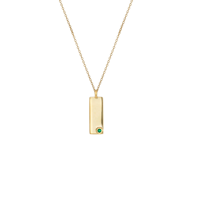 Erica Corte Atelier. Birthstone Talisman Tag - May| Emerald 14Y Gold Tag Necklace with Chain