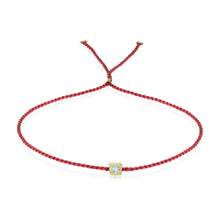 Load image into Gallery viewer, Erica Corte Atelier Red Wish Wristlet Bracelet- BRIGHT 14KY-Symbol of unconditional Love, Unity and Friendship-Silk string with gold and diamonds