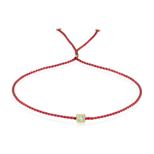Erica Corte Atelier Red Wish Wristlet Bracelet- BRIGHT 14KY-Symbol of unconditional Love, Unity and Friendship-Silk string with gold and diamonds