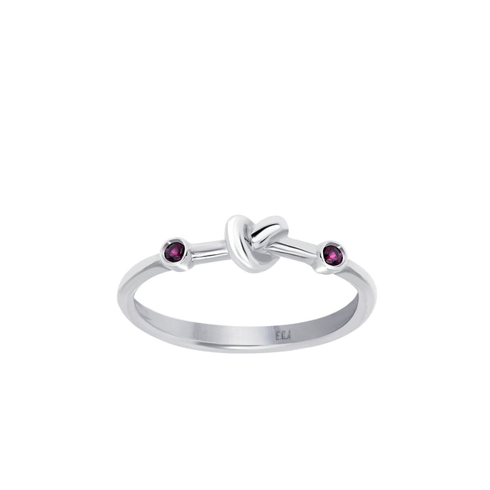 Love Knot Ring with Red Rubies  Handcrafted with Sterling Silver and a Rubies on each side of the Love Knot. As the most elegant of all gems, the energy of the Red Ruby stimulates passion, protection and love for others and oneself.