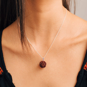 Rudraksha Seed Necklace | Sterling Silver with Gemstones - by Erica Corte Atelier
