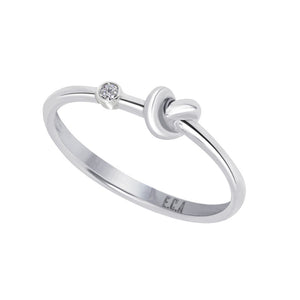 Love Knot Ring With White Diamond  This simple design is handcrafted with Sterling Silver and a diamond to convey the message of eternal love. Sterling Silver White Diamond: 1.5mm