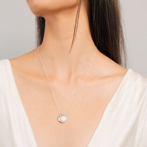 Moon Phase Necklace | Mother of Pearl and an Aquamarine -small - by Erica Corte Atelier
