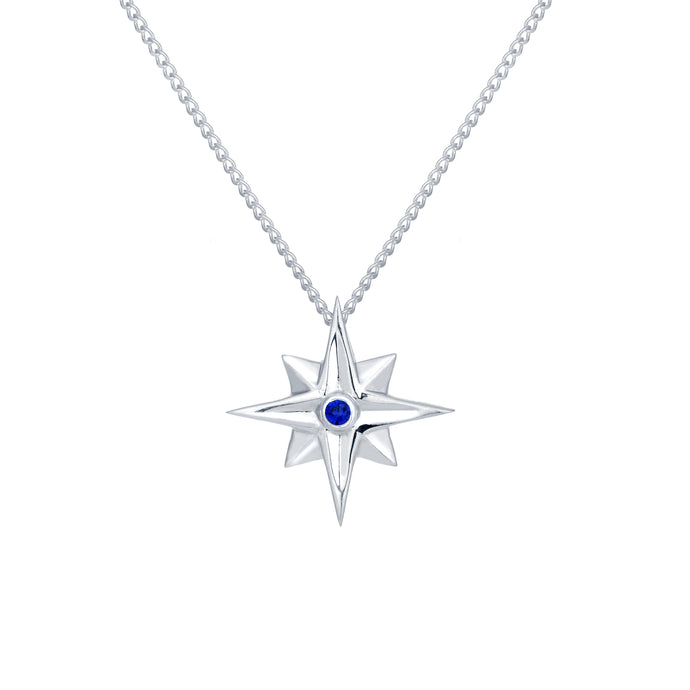 Sterling Silver Star Pendant Necklace with Blue Sapphire |  Erica Corte Atelier