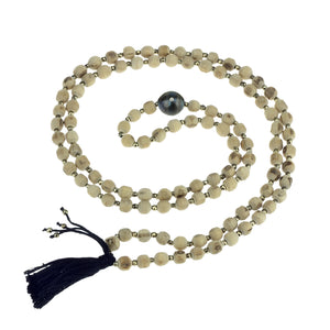 Tulsi Mala With Black Fresh Water Pearl and Diamond -  by  Erica Corte Atelier