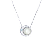 Load image into Gallery viewer, Moon Phase Necklace |  Mother of Pearl and an Aquamarine -small