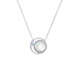Moon Phase Necklace |  Mother of Pearl and an Aquamarine -small
