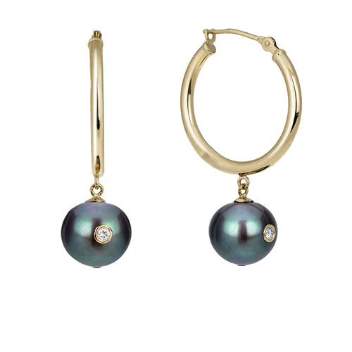 New Moon | 14K Yellow Gold Hoops Earrings  with Black Pearls and Diamond