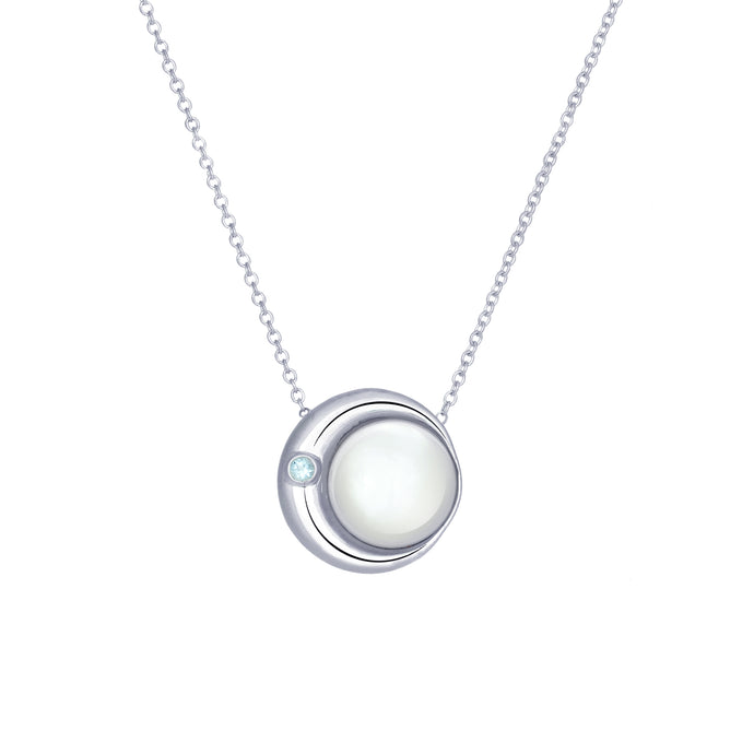 Moon Phase Necklace |Mother of Pearl and an Aquamarine - big - long