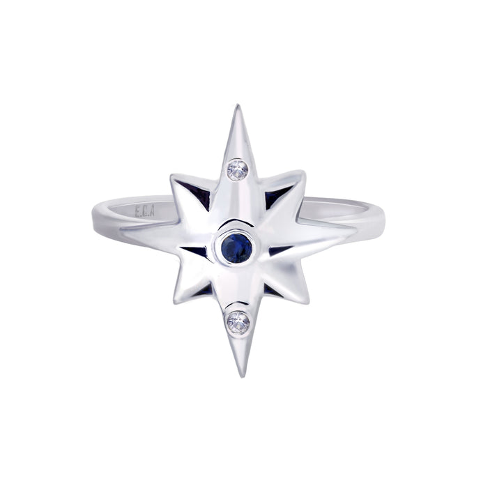 Sterling Silver Star Ring with Blue and White Sapphires | Small | Erica Corte Atelier