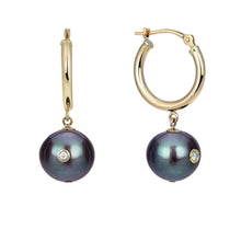Load image into Gallery viewer, New Moon | 14K Yellow Gold Hoops Earrings  with Black Pearls and Diamond