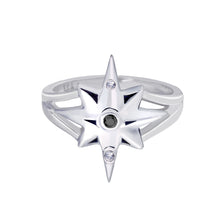 Load image into Gallery viewer, Star Ring | White Gold with White and Black Diamonds  by  Erica Corte Atelier