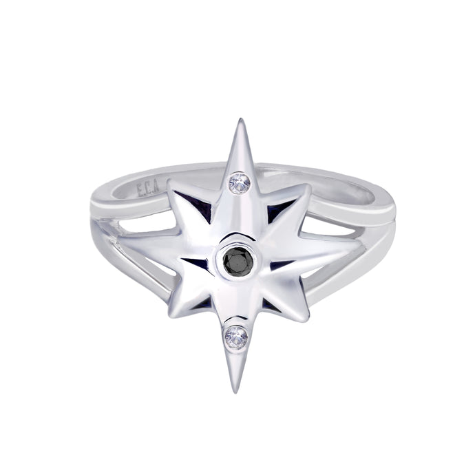 Star Ring | White Gold with White and Black Diamonds  by  Erica Corte Atelier