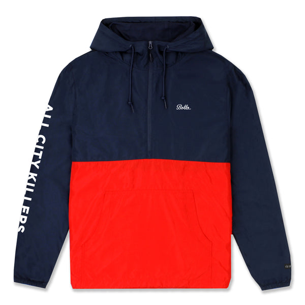 ACK WINDBREAKER ANORAK JACKET - NAVY/RED