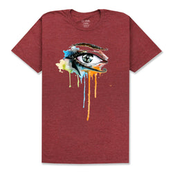 ALL SEEING EYE T-SHIRT - BURGUNDY HEATHER