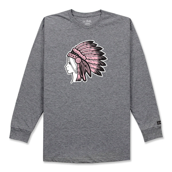 DREAMER L/S SHIRT - HEATHER GREY/PINK