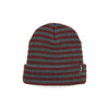 STRIPED FOLD BEANIE - BURGUNDY
