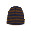 STRIPED FOLD BEANIE - NAVY