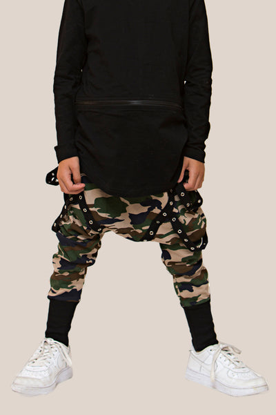 Camo Harem drop crotch pants 100% cotton jersey